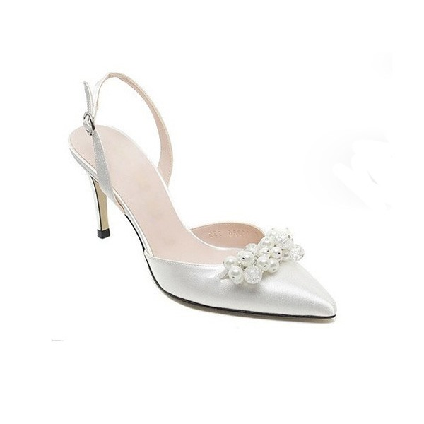 Graceful Satin Upper Stiletto Heel Closed-toe Wedding Shoes