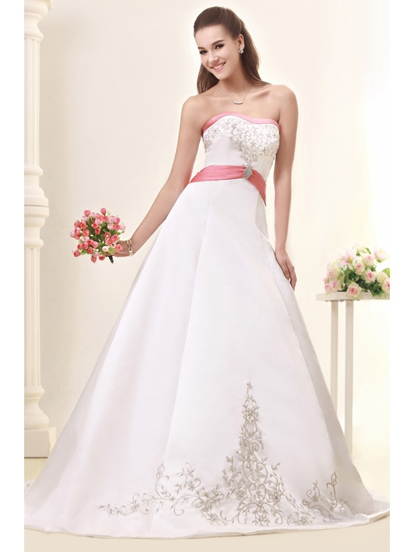 Fabulous A-Line/Princess Strapless Embroidery Chapel Sandra's Wedding Dress