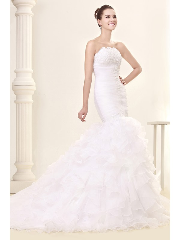 Amazing Court Train Trumpet/Mermaid Slim Sweetheart Ruffles Fall Sandra's Wedding Dress