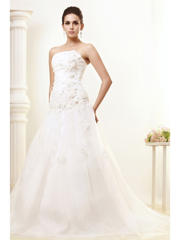 Cheap Elegant Strapless Floor Length Flowers Taline's Wedding Dress