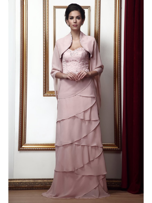 Tiered Lace Sheath/Column Sweetheart Neckline Floor-Length Taline's Mother of the Bride Dress With Jacket/Shawl