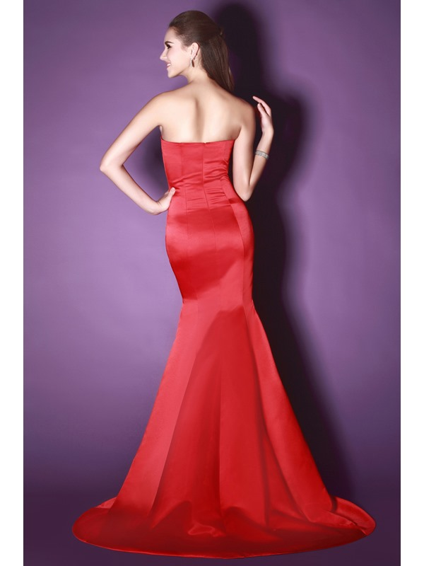 Hot Selling Red Mermaid Sweetheart Floor Length Court Train Sandra's Evening Dress