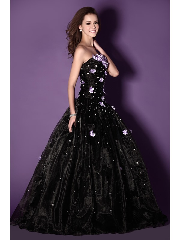 New Style A-Line Strapless Floor-length Flowers Sandra's Ball Gown/Quinceanera Dress