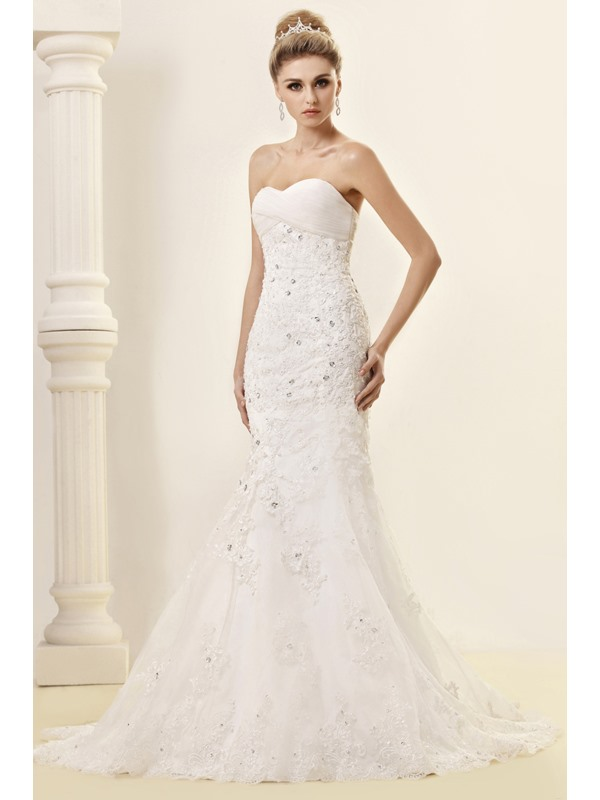 Cheap Trumpet/Mermaid Strapless Court Sweetheart Floor-length Lace Dasha's Wedding Dress