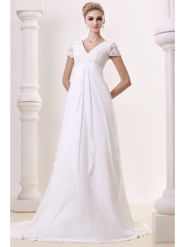 Graceful Empire V-Neck Floor-length Chapel Beading Dasha's Bridal Gowns