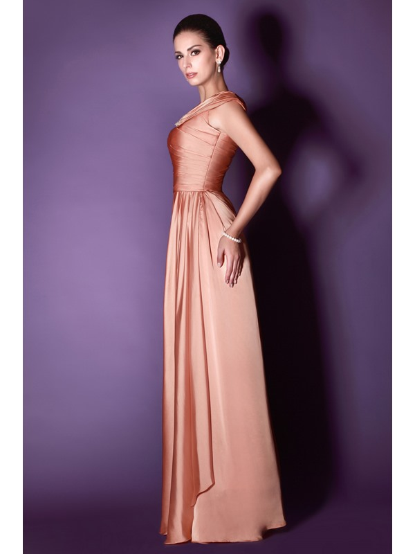 Gorgeous Beaded Pleats Column Jewel Neckline Floor-Length Taline's Mother of the Bride Dress