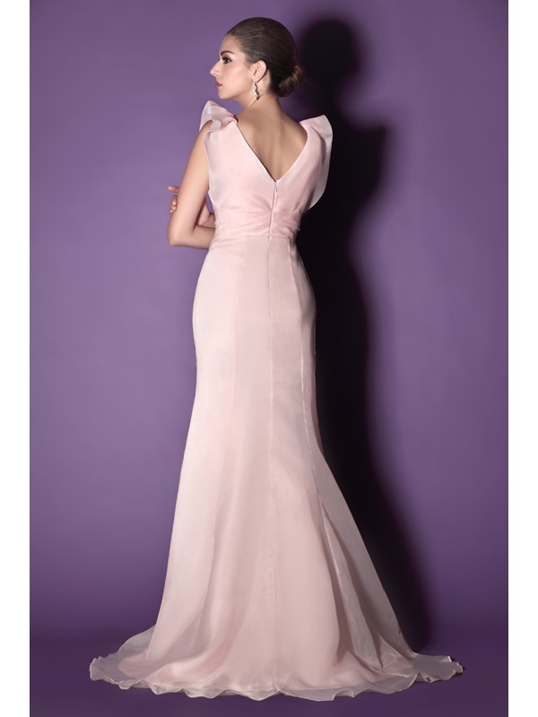 Beaded Ruffles Trumpet/Mermaid V-Neck Sweep-Train Taline's Mother of the Bride Dress