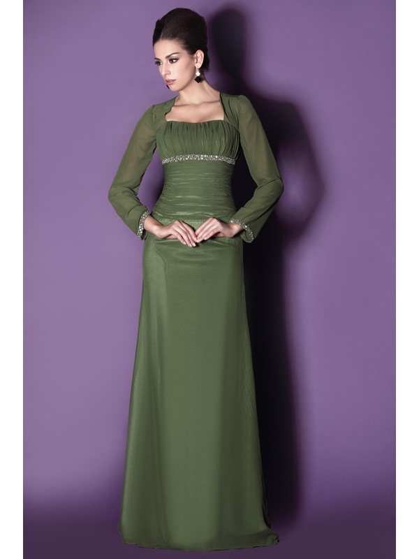 Modest Long Sleeves Sheath Square Neckline Sequins Floor-length Taline's Mother of The Bride Dress(Free Shipping)